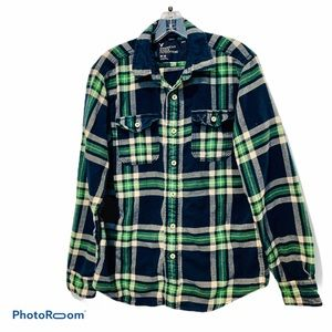 AMERICAN EAGLE Green & Navy Athletic Fit Flannel